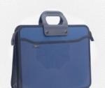 пластиковый на 4 отделения А4+ 390*320, усиленная ручка, темно синий